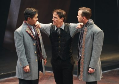Stephen Hu, Jim Poulos, Ross Cowan - Hamlet by William Shakespeare presented by Repertory Theater of St. Louis on Oct 10, 2017. Photo: Peter Wochniak