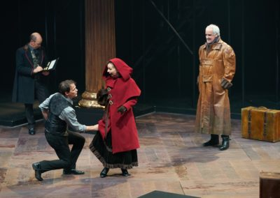 Larry Paulsen, Tarah Flanagan, Jim Poulos. Jonathan Gillard Daly - Hamlet by William Shakespeare presented by Repertory Theater of St. Louis on Oct 10, 2017. Photo: Peter Wochniak
