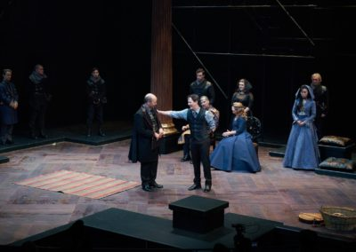 (foreground) Larry Paulsen, Jim Poulos (background) Ben Nordstrom, Scott James Smith, Harrison Farmer, Chaunery Kingsford Tanguay, Michael James Reed, Robynn Rodriguez, Delaney Piggens, Kim Wong, Jerry Vogel - Hamlet by William Shakespeare presented by Repertory Theater of St. Louis on Oct 10, 2017. Photo: Peter Wochniak