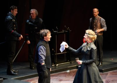Jim Poulos, Robynn Rodriguez; (background) Chaunery Kingsford Tanguay, Jerry Vogel, Christopher Gerson - Hamlet by William Shakespeare presented by Repertory Theater of St. Louis on Oct 10, 2017. Photo: Peter Wochniak