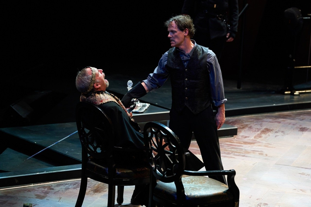 Michael James Reed, Jim Poulos - Hamlet by William Shakespeare presented by Repertory Theater of St. Louis on Oct 10, 2017. Photo: Peter Wochniak